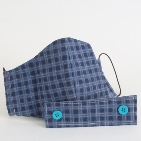 Adult Blue Plaid Face Mask