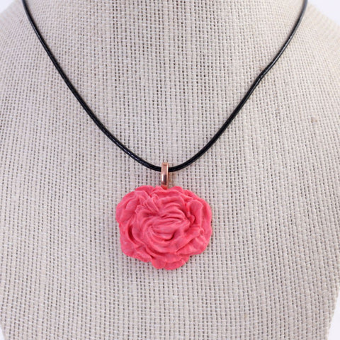Peony / Rose Polymer Clay Pendant Necklace