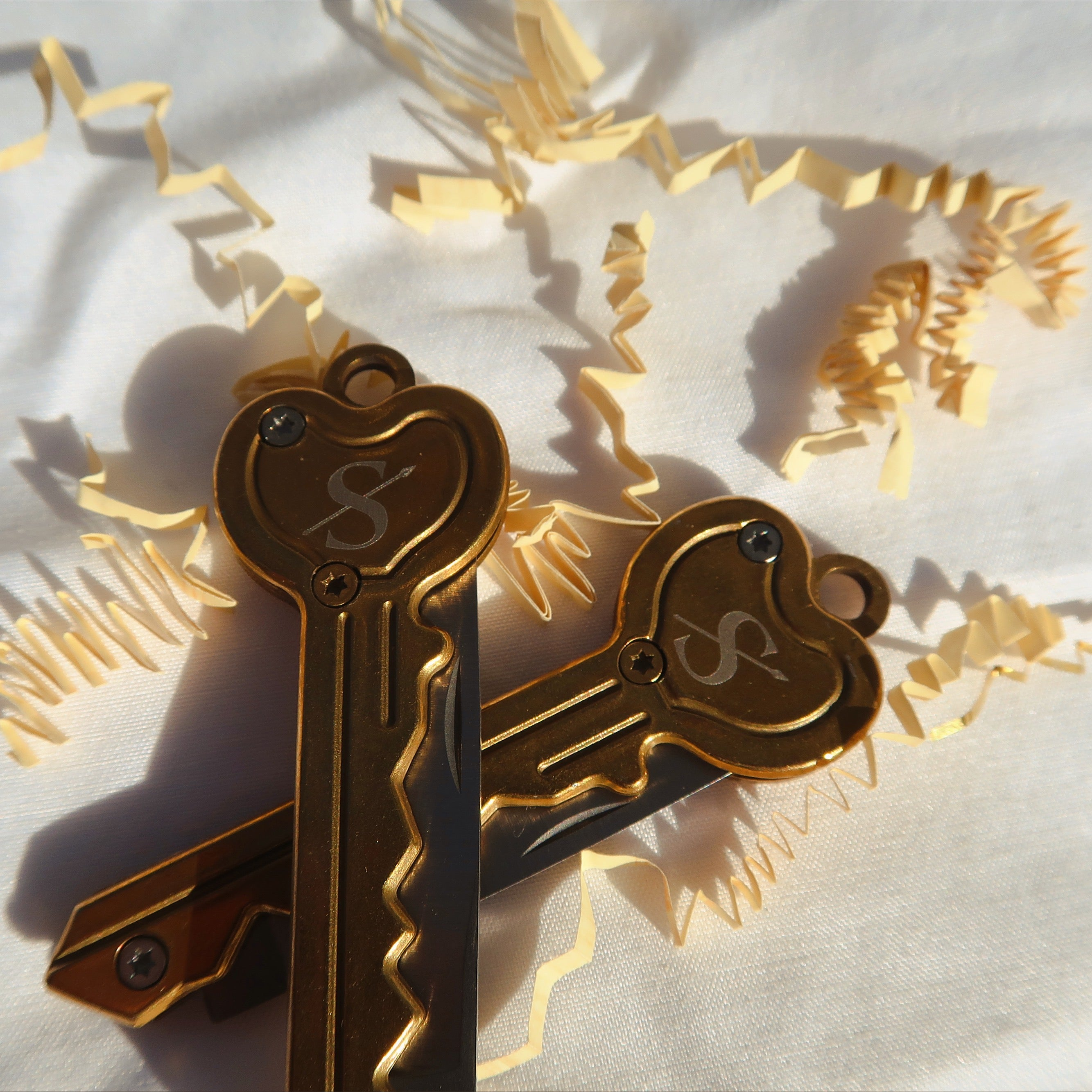 Gold Heart Key Knife