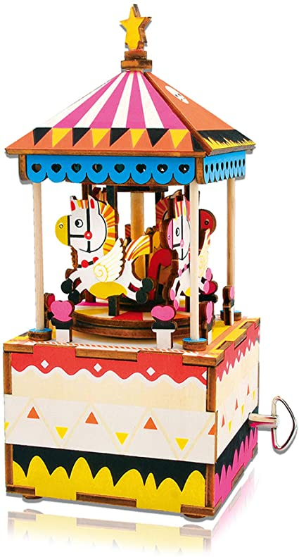 DIY 3D Wooden Puzzle Music Box - Merry-Go-Round