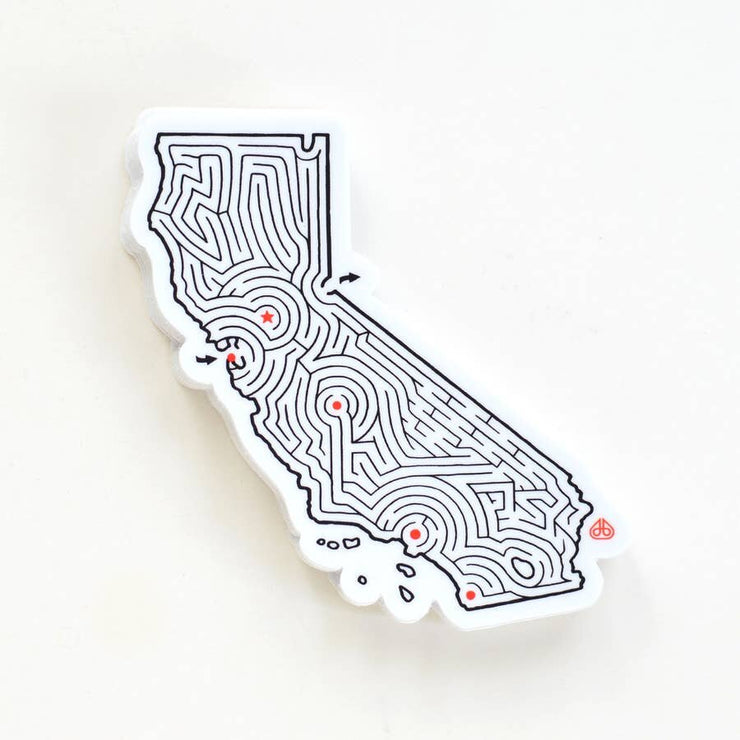 California Maze State Map Die Cut Vinyl Sticker