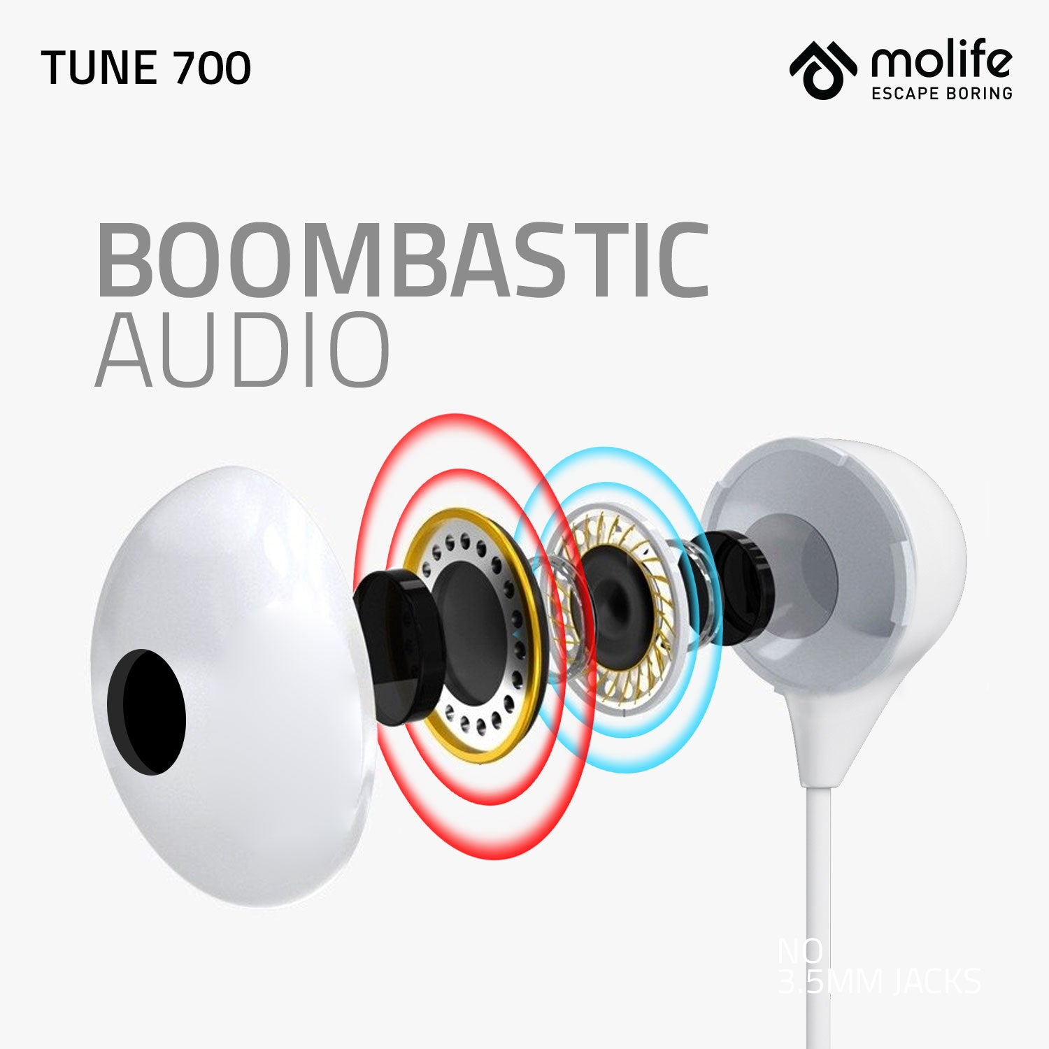 Molife Tune 700 Earphone with Type C Audio Connector Deep Bass Inline Control with Mic.