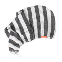 AQUIS RAPID DRY LISSE HAIR TURBAN BLACK/ WHITE STRIPE