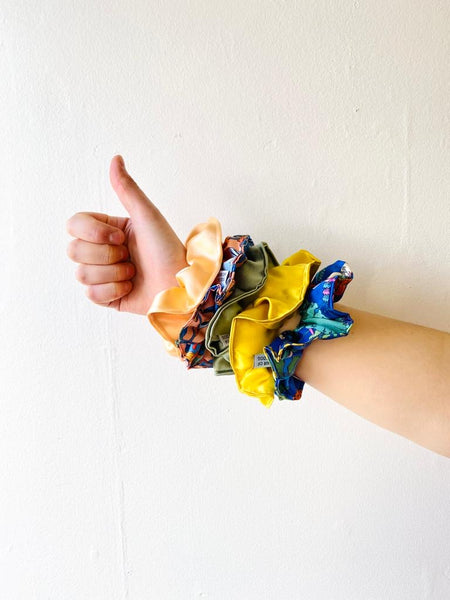 Silk scrunchies by Hair of the Dog available at Local Assembly