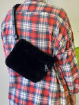 Black shearling fanny pack by Your Bag of Holding available at Local Assembly