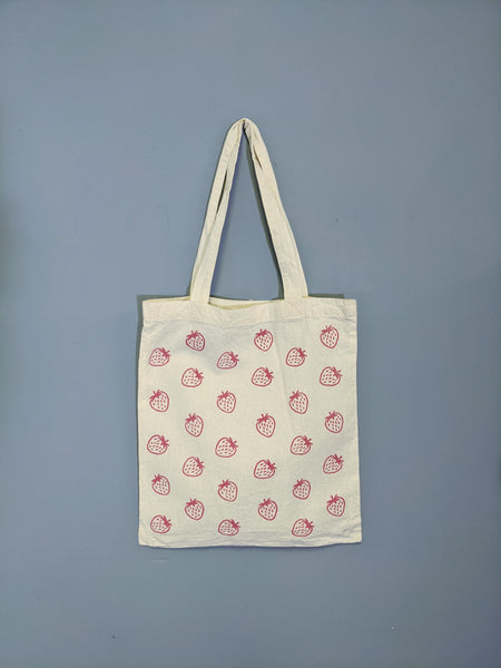 Strawberry print tote by Ashleigh Green available at Local Assembly