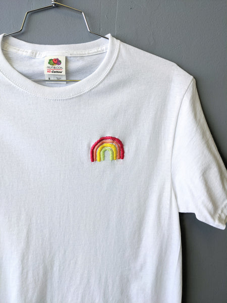 Embroidered rainbow tee by Embroiderline available at Local Assembly