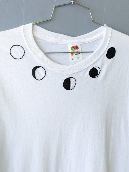 Embroidered moon phases tee by Embroiderline available at Local Assembly