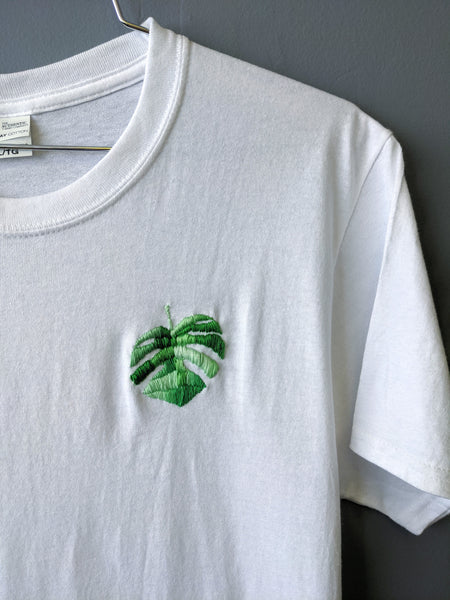 Embroidered monstera tee by Embroiderline available at Local Assembly