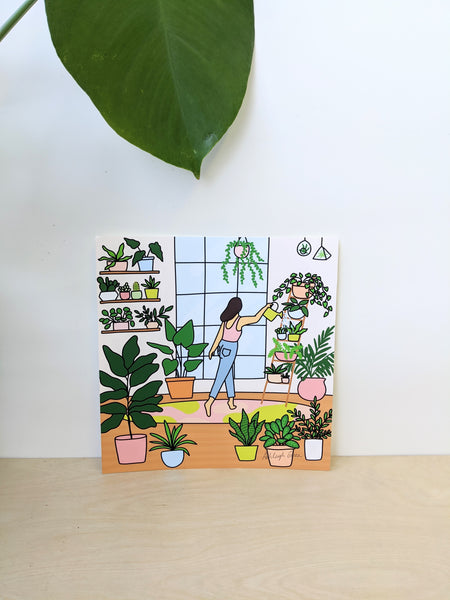 Watering Plants print by Ashleigh Green available at Local Assembly