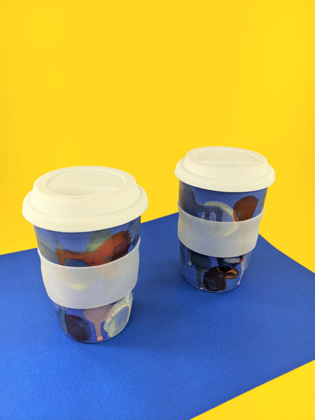 Blue multi coloured 16 oz ceramic to-go mug by Meg Hubert available at Local Assembly