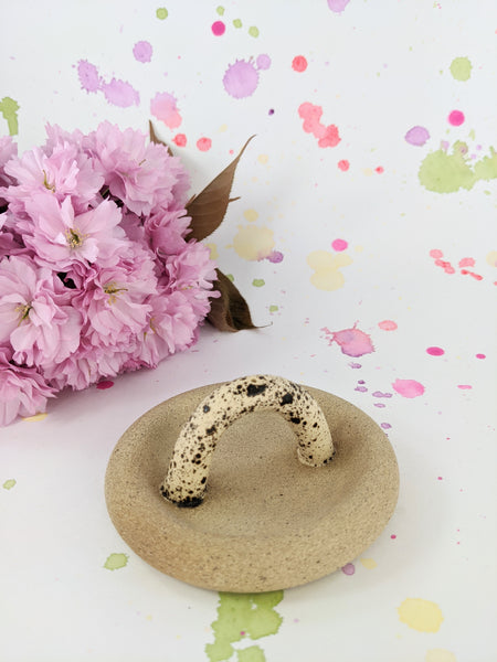 Speckled ceramic arch incense holder by Meg Hubert available at Local Assembly