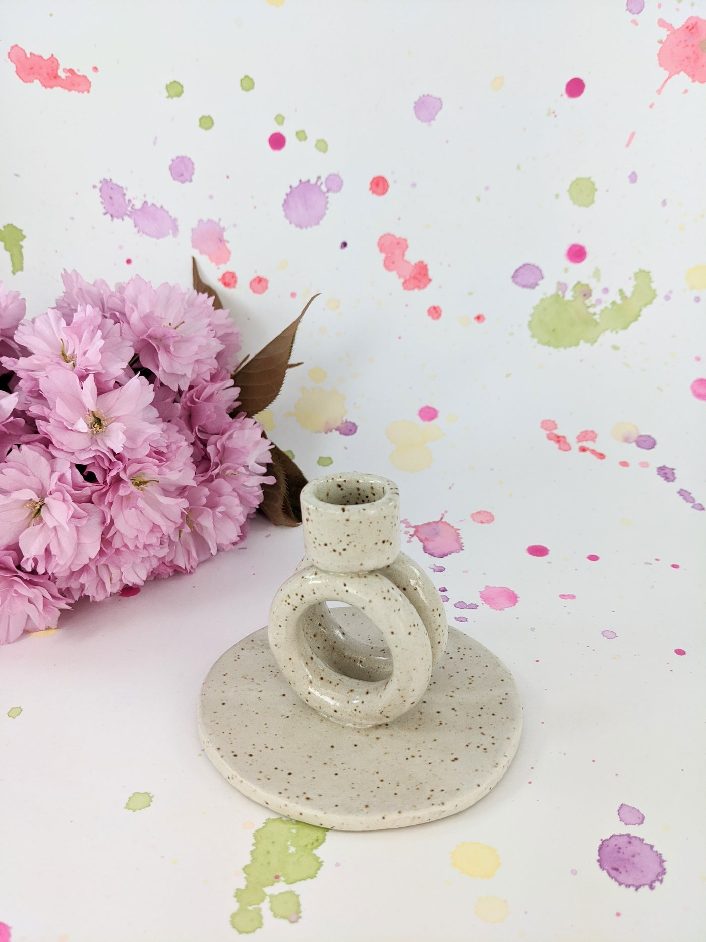 Speckled ceramic candle holder by Lovely Things Vintage available at Local Assembly