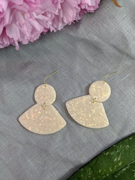 Cream opal fan polymer clay earrings by Kaju Creations available at Local Assembly