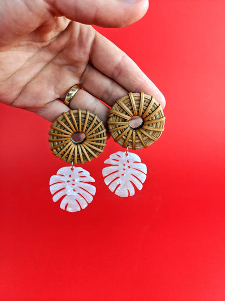 Mirror palm rattan earrings by Late Bloomer available at Local Assembly