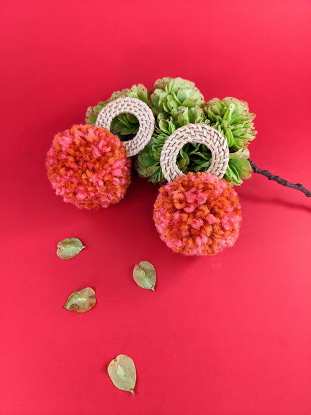 Pom pom earrings by Late Bloomer available at Local Assembly