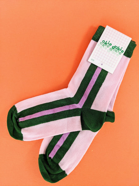 Pink and green striped socks by Okie Dokie available at Local Assembly