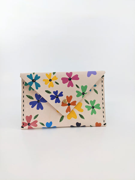 Colourful flower print leather wallet by Nazz Ares available at Local Assembly