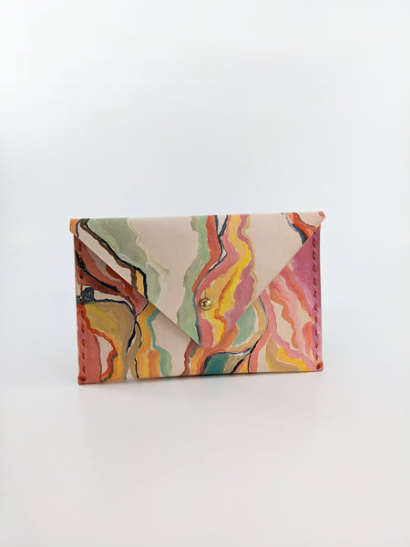 Colourful wavy print leather wallet by Nazz Ares available at Local Assembly
