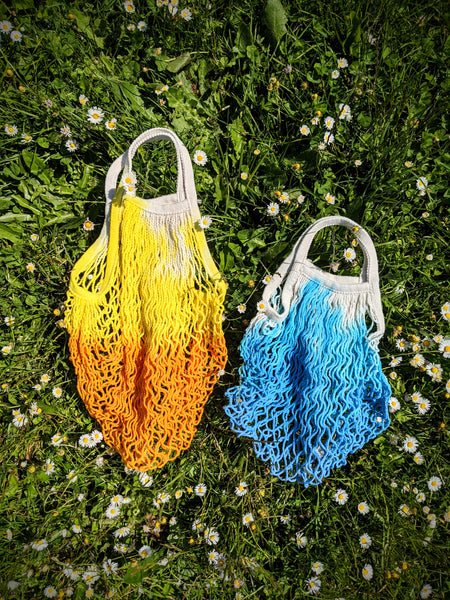 Yellow and blue market bags by WIldflower Dyes available at Local Assembly