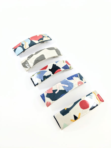 Multi coloured ceramic barrettes by Marita Manson available at Local Assembly