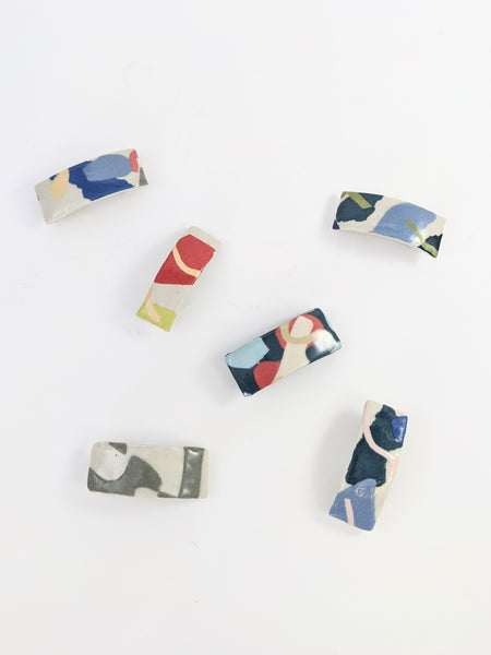 Mini ceramic barrettes by Marita Manson available at Local Assembly