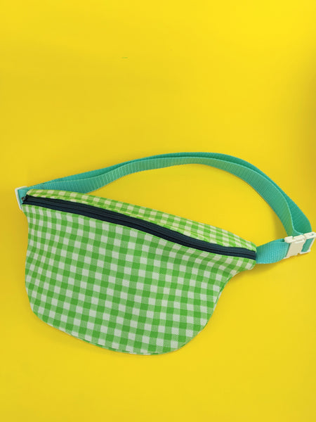 Green gingham fanny pack by Pep! available at Local Assembly