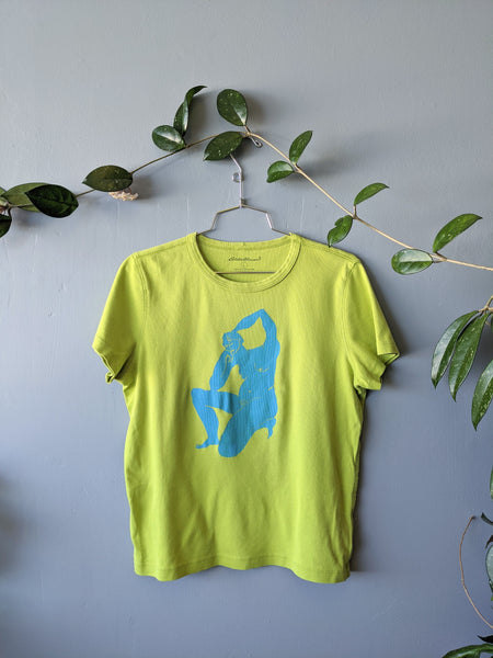 Lime green and blue screen printed t-shirt by Peau Nue available at Local Assembly