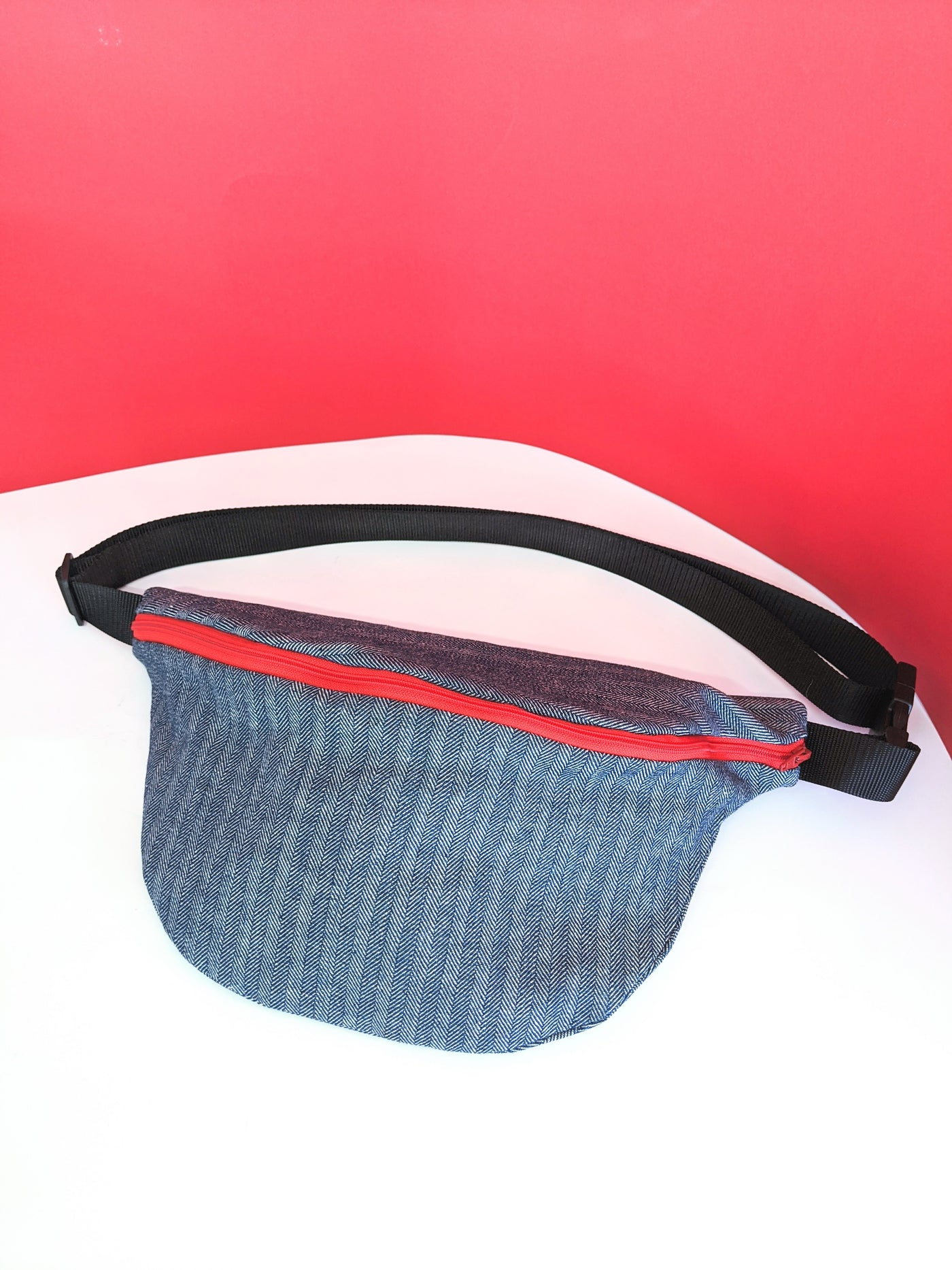 Navy herringbone fanny pack by Pep! available at Local Assembly