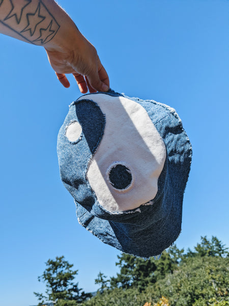 Blue and white denim yin yang bucket hat by Never Ending Weekend available at Local Assembly