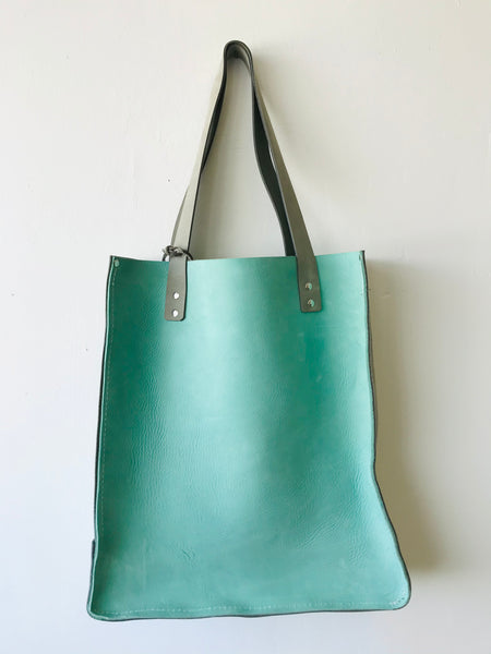 Teal leather tote by Rad Juli available at Local Assembly