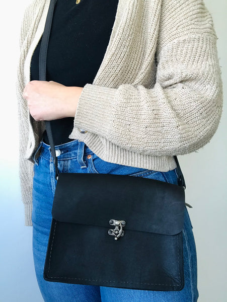 Black leather perfect little purse by Rad Juli available at Local Assembly