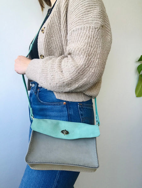Teal leather purse by Rad Juli available at Local Assembly