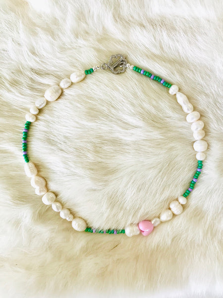 Green and pink beaded pearl necklace by Uhm Studios available at Local Assembly