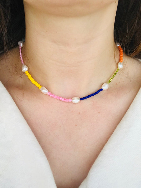 Multi-coloured beaded pearl necklace by Uhm Studios available at Local Assembly