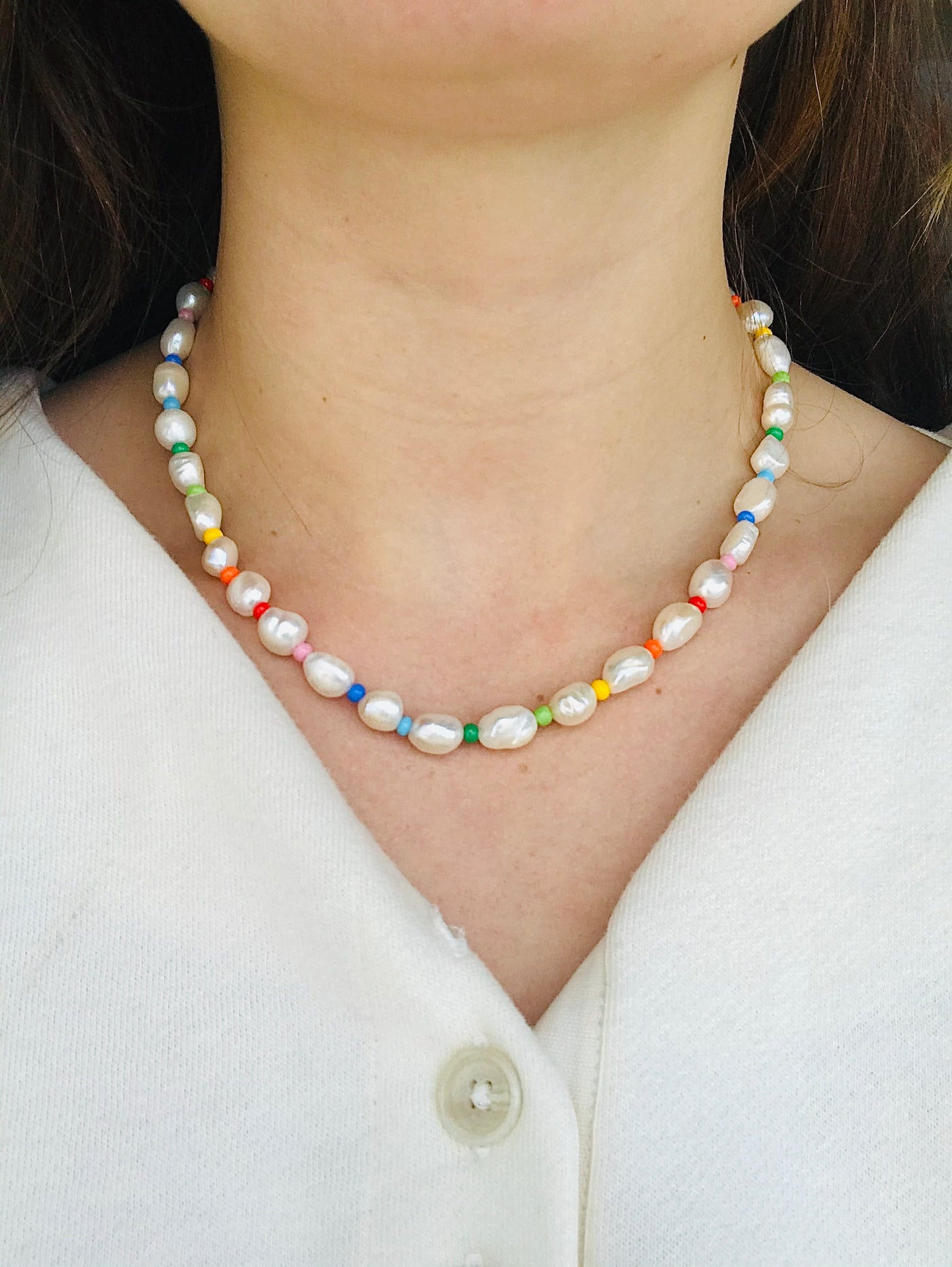 Rainbow pearl necklace by Uhm Studios available at Local Assembly