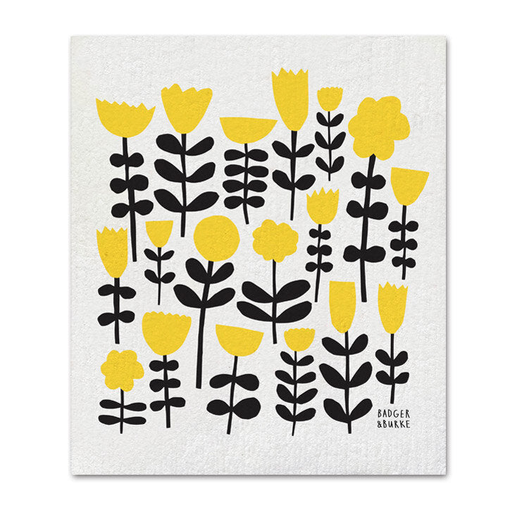 Yellow flowers sponge cloth by Badger & Burke available at Local Assembly