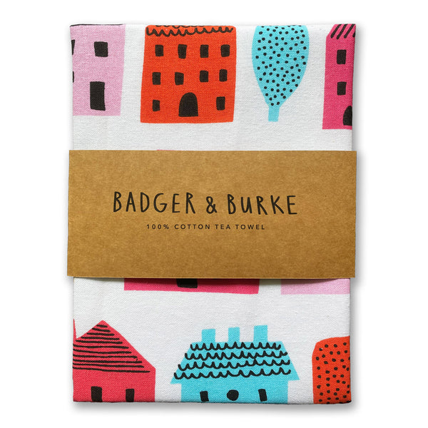 little houses tea towel by Badger & Burke available at Local Assembly
