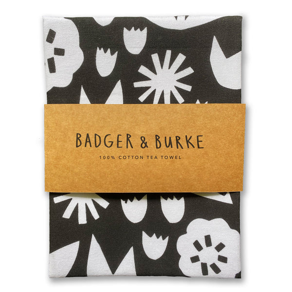Black floral tea towel by Badger & Burke available at Local Assembly