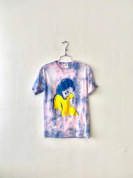 Small Man Tee - S - Pink + Blue Tie Dye by Chanel Colleaux