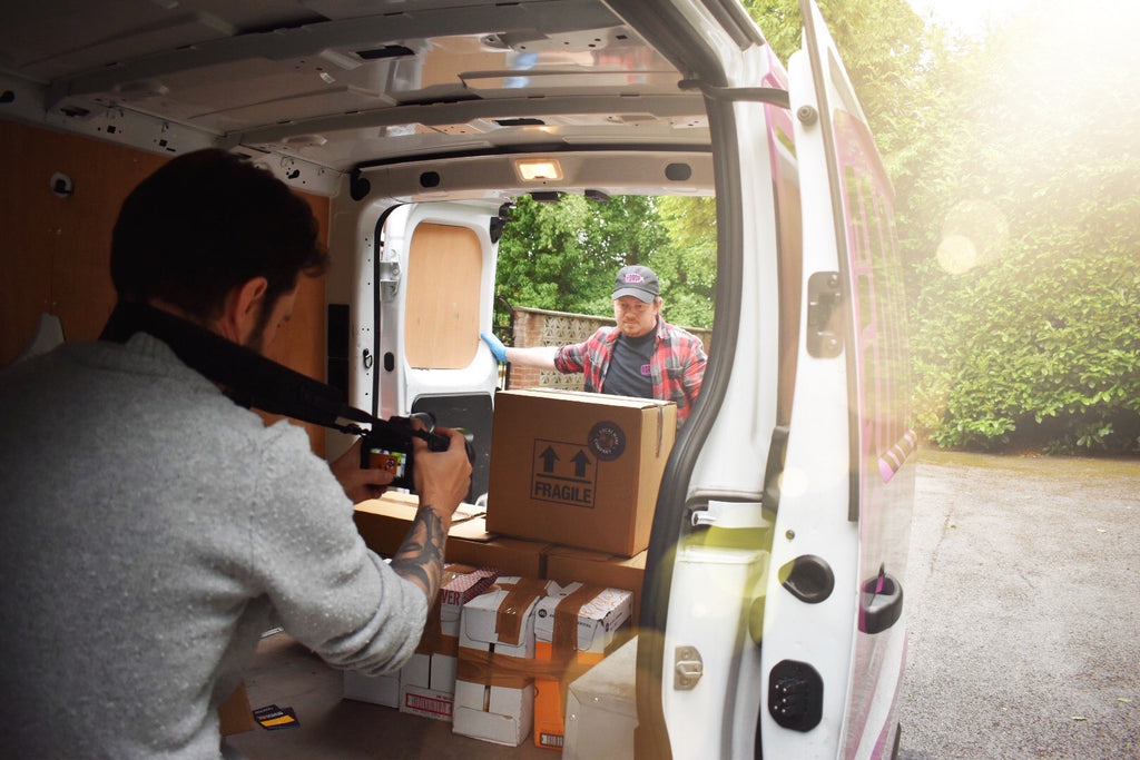 Filming a video about our wine delivery in Marple