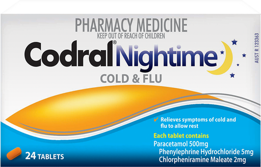 Codral Nightime Cold & Flu Tablets 24s