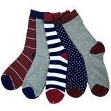 Mixed Patterned Cotton Sock Set (5pc)