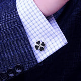 Black 4-leaf Clover Cufflinks