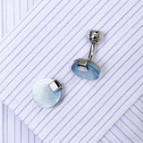 Pale Blue Circular Cufflinks