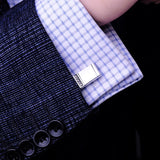 Rectangular Cufflinks with White Crystals