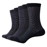 Dark Patterned Cotton Business Socks (5pc)