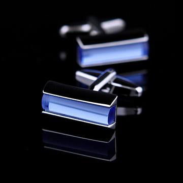 Blue Crystal Rectangular Cufflink