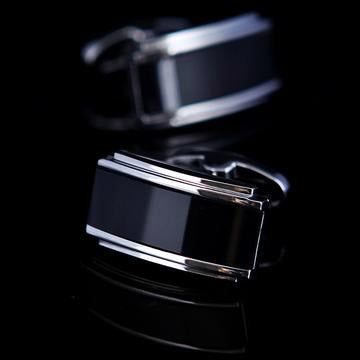 Curved Piano Black Cufflinks