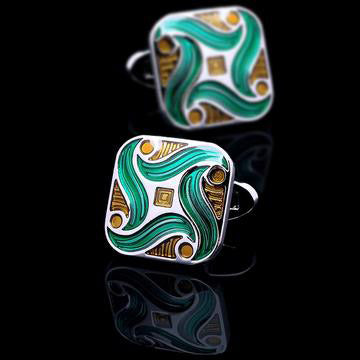 Enamel Green-Gold Cufflinks